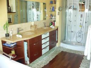 ארון אמבטיה ועליו שיש טבעי ושני כיורי אבן